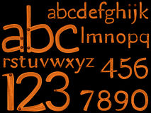 Hand drawn alphabet and numbers. Over black background, abstract vector art illustration stock illustration