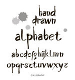 Hand drawn alphabet in retro style. ABC for your design. Letters of the alphabet written with a brush. Calligraphy. Hand drawn alphabet in retro style. ABC for Stock Photo