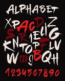 Hand drawn alphabet in retro style. ABC for your design. Letters of the alphabet written with a brush. Dark background. Stock Photos