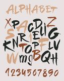 Hand drawn alphabet in retro style. ABC for your design. Letters of the alphabet written with a brush. Royalty Free Stock Images
