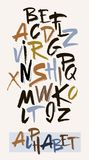Hand drawn alphabet in retro style. ABC for your design. Letters of the alphabet written with a brush. Stock Photography