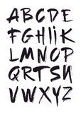 Hand drawn alphabet in retro style. ABC for your design. Letters of the alphabet written with a brush. Stock Photo
