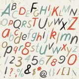 Hand drawn alphabet in retro style. ABC for your design. Royalty Free Stock Image