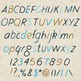 Hand drawn alphabet in retro style. ABC for your design. Royalty Free Stock Images
