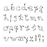 Hand drawn alphabet - Rope or String. Handwritten font. Vector Illustration Stock Photos