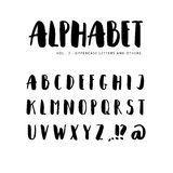 Hand drawn  alphabet: Sans serif font. Isolated letters written with marker, ink. Stock Image