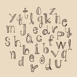 Hand drawn Alphabet set. Vector illustration of hand-drawn alphabet set. Letters are in lower case Stock Images