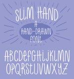 Hand Drawn Alphabet Skinny Handwriting Font. Hand Drawn Font Skinny Hand Written Font Typography Letters Alphabet Royalty Free Stock Photos
