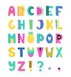 Hand drawn alphabet. Summer hand drawn colorful alphabet. Vector letters set. Funny style with decorations Stock Images