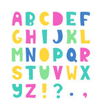 Hand drawn alphabet. Summer hand drawn colorful alphabet. Vector letters set. Funny style with decorations Royalty Free Stock Photography
