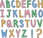 Hand Drawn Alphabet Text. A hand drawn alphabet font in capital letters with polka dot pattern. The set also includes a question mark and exclamation symbol Royalty Free Stock Image