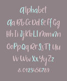 Hand drawn brush ink vector ABC upper and lower case letters set. Doodle comic font for your design. Hand drawn alphabet. Uppercase, lowercase letters and Royalty Free Stock Photos