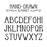 Hand drawn alphabet vector with design elements Royalty Free Stock Photography
