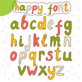 Hand drawn alphabet. Vector happy font. Vector illustration Royalty Free Stock Photos