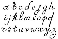Hand drawn alphabet. Vector illustration. Brush painted letters Royalty Free Stock Image
