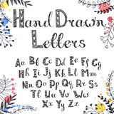 Hand drawn alphabet. Vector hand drawn letters. English alphabet white on black. Doodle letters drawn on chalkboard Royalty Free Stock Images