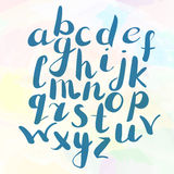 Hand drawn alphabet. On watercolor background in vector Stock Photos
