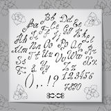 Hand drawn alphabet written with brush pen. Full version Royalty Free Stock Image