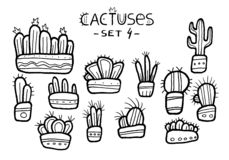 Hand drawn amazing cactuses in cute pots isolated on the white background. Ink drawn set. Children drawing vector illustration