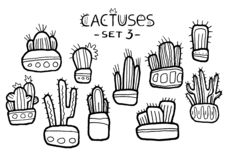 Hand drawn amazing cactuses in cute pots isolated on the white background. Ink drawn set. stock illustration