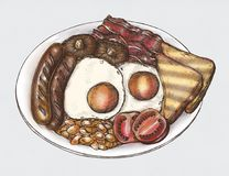 Hand-drawn American breakfast set stock illustration