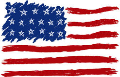 Hand Drawn American Flag. Red White and Blue Royalty Free Stock Photos
