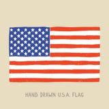 Hand drawn american flag. Vector illustration stock illustration