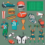 Hand drawn American Football collection Royalty Free Stock Photo