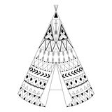 Hand drawn American native wigwam with ethnic ornamental element royalty free illustration