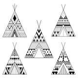Hand drawn American native wigwams set with ethnic ornamental el Royalty Free Stock Photo