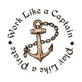 Hand drawn anchor with chain vector illustration. Hand drawn anchor with chain. Engraving style tattoo design. Isolated on white background with inscription Work Stock Photography