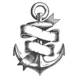 Hand Drawn Anchor. With ribbon Stock Images