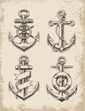 Hand Drawn Anchor Set Stock Photography