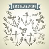 Hand drawn anchor. Set of vector illustrations Stock Photos