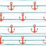 Hand drawn anchor on strips background Royalty Free Stock Image