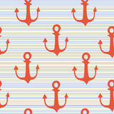 Hand drawn anchor on strips background Stock Photo