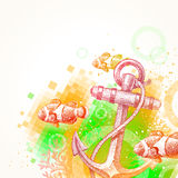 Hand drawn anchor and tropical fishes Royalty Free Stock Photography