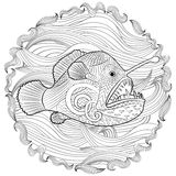 Hand drawn angel fish with high details Stock Image