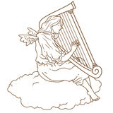 Hand drawn Angel harp Stock Photos