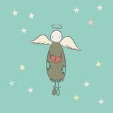 Hand drawn angel with heart Royalty Free Stock Photo
