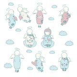 Hand drawn angel icon set Royalty Free Stock Photo