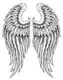 Hand drawn angel wings Stock Photos