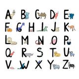 Hand Drawn Animal Alphabet for Kids. Stock Image