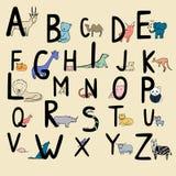 Hand Drawn Animal Alphabet for Kids. Stock Photos