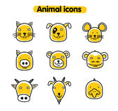 Hand drawn animal illustration - vector icons Stock Photo