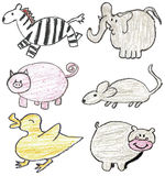 Hand drawn animals Royalty Free Stock Photography