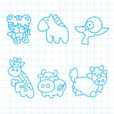 Hand drawn animals cartoon. On paper Royalty Free Stock Photos