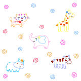Hand drawn animals cartoon. On White Background Stock Images