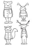 Hand drawn  animals in clothes, isolated. Vector illustration Royalty Free Stock Image