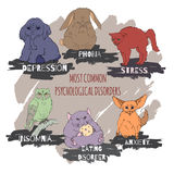 Hand drawn animals illustrating most common psychological problems Royalty Free Stock Images